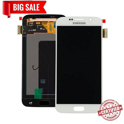 Модуль (сенсор+дисплей) для Samsung G920F Galaxy S6 AMOLED білий, фото 2