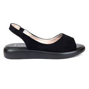 Босоножки замшевые 36-40 Woman's heel черные с открытым носком и широкой резинкой
