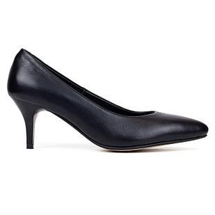 Туфли лодочки кожаные 36-40 Woman's heel черные с заостренным носком на каблуке