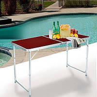 🔥 Набор для пикника раскладной Folding table red стол металлический и 4 стулья, фото 1