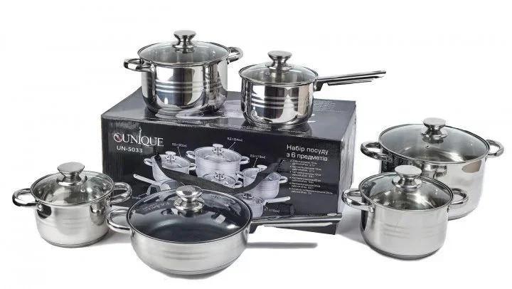 Набір каструль UNIQUE UN-5033 з індукційним дном для всіх плит 12 предметів (сталь 4 каструлі ківш сковорода)