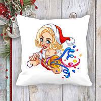 Подушка с новогодним принтом Мэрилин Монро в новогоднем костюме и хлопушка