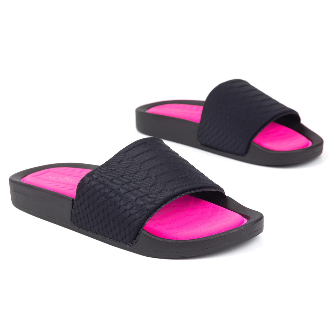 Шлепанцы женские Woman's heel текстильные черные (О-897)