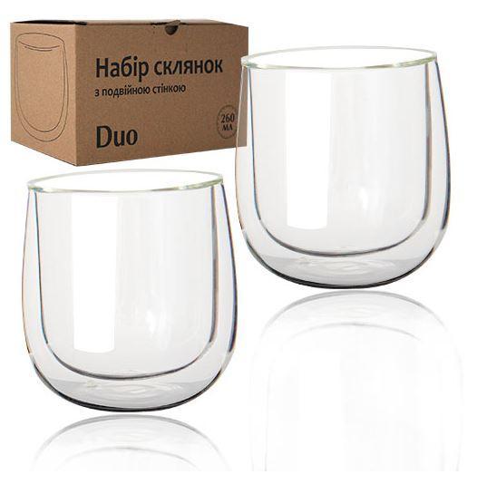Набор стаканов стеклянный с двойными стенками Дуо 260мл