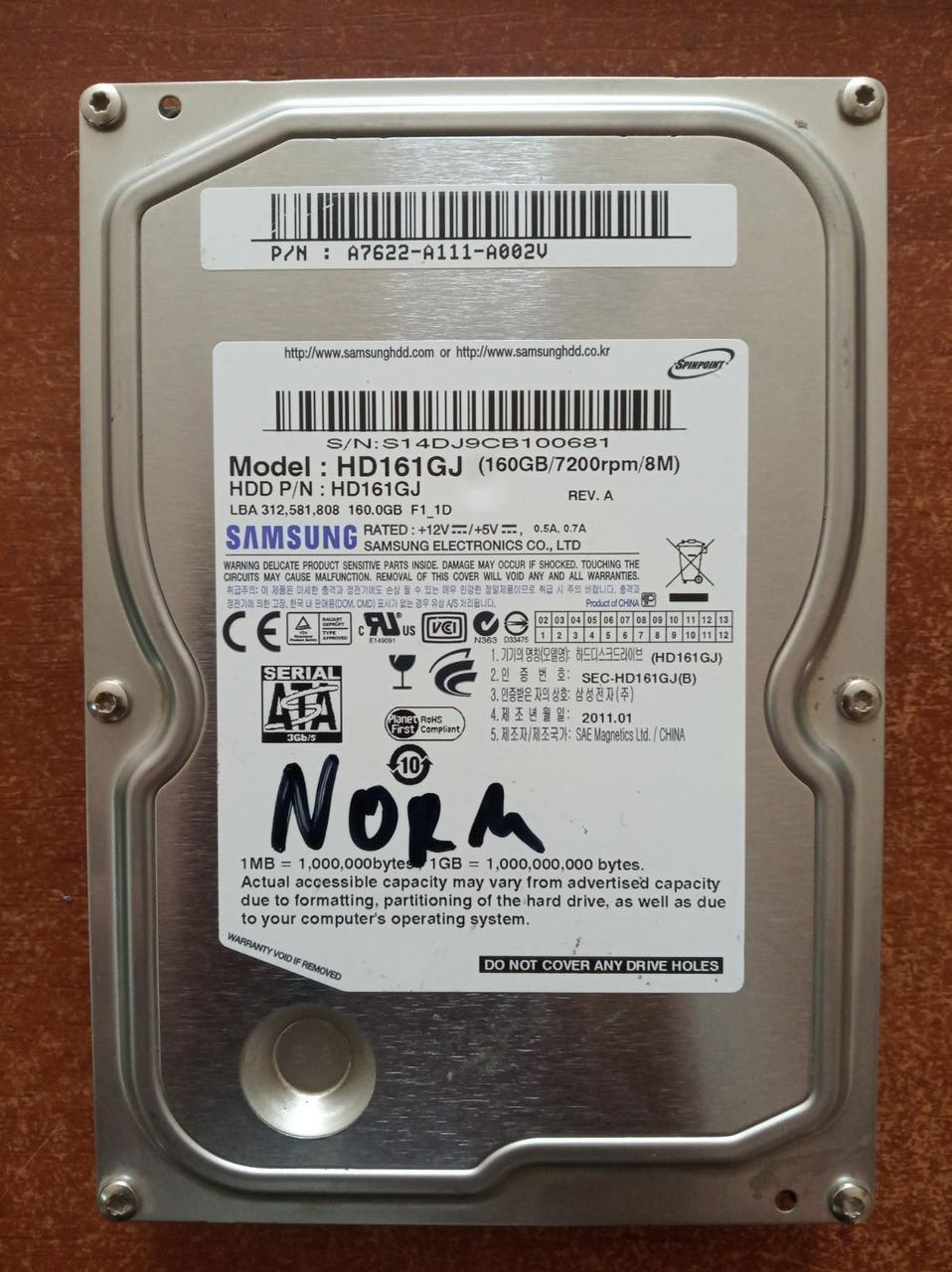 Жесткий диск , винчестер, HDD SATA 3.5, 160 ГБ, Samsung ОПТ
