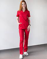 Медицинский женский костюм Топаз красный, фото 1