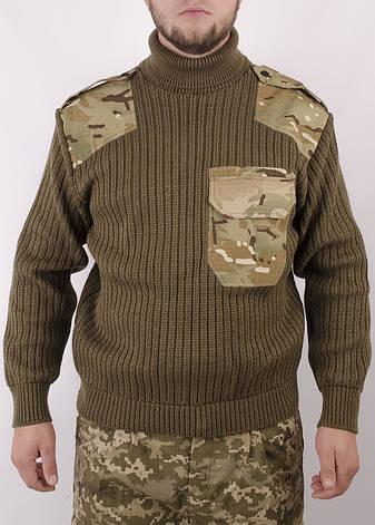 Світер військовий з горловиною, вставками Мультикам, фото 2