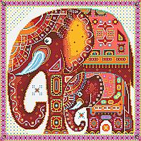 Індійські слони. Схема повної вишивки бісером
