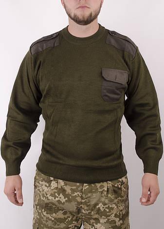 Світер військовий олива з вставками, фото 2