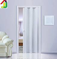 Дверь гармошка Folding Ясень глухая,  складная, двери  раздвижные межкомнатные ПВХ, скрытые двери пластиковые