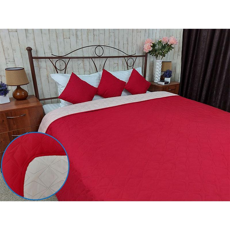 Покрывало на кровать, диван Руно Красное 150х212 двустороннее полуторное