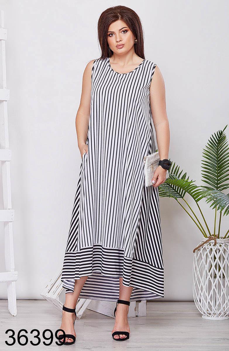 Летнее женское длинное платье в полоску р. 50-52, 54-56