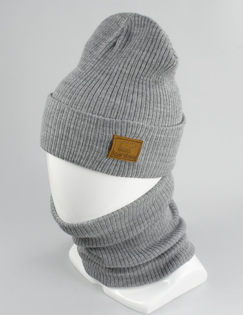 Вязаные Модные Шапки - Лопата Комплект серый