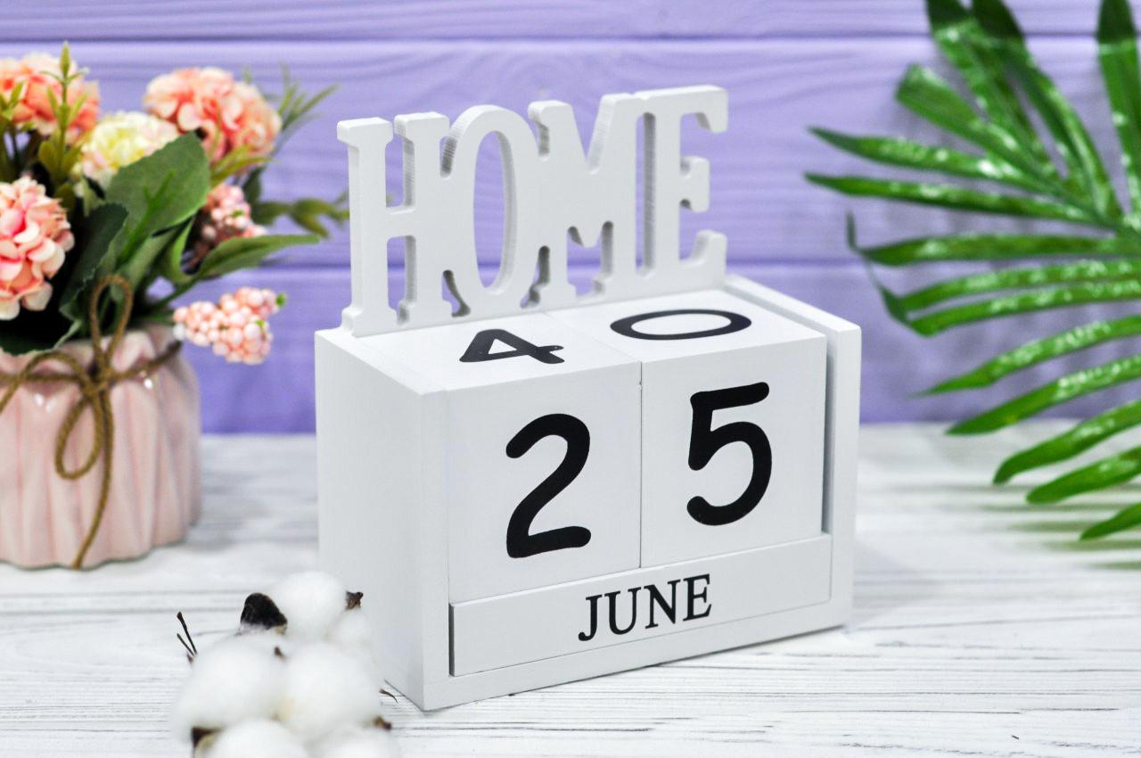 """Вечный календарь """"Home"""" (14*15*7 см) дерево"""