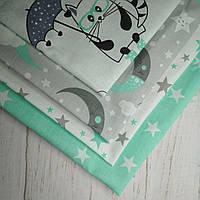 """Набор хлопковых тканей №05 """"Луна, звезды"""", фото 1"""