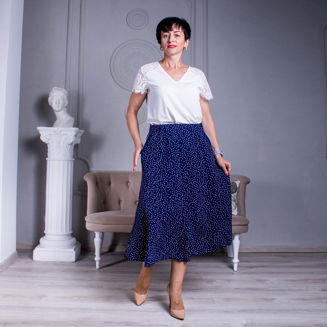 Женская юбка клеш Тая софт синяя с беж горошком