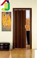 Дверь гармошка Folding ОРЕХ глухая, складная, двери  раздвижные межкомнатные ПВХ, скрытые двери пластиковые