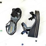 Босоножки женские черные на высокой платформе, натуральная лаковая кожа и кожа питон. 36 размер, фото 3