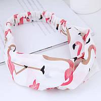 Повязка чалма розовый фламинго