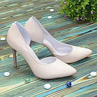 Женские кожаные белые туфли на шпильке, цвет бежевый. 36 размер
