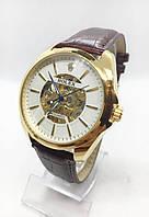 Чоловічі механічні годинники Rolex (Ролекс), золото з коричневим ремінцем ( код: IBW408YKO )