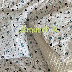 Комплект для коляски (подушка, плед, простынь), Молочный/Звезды бирюзовые