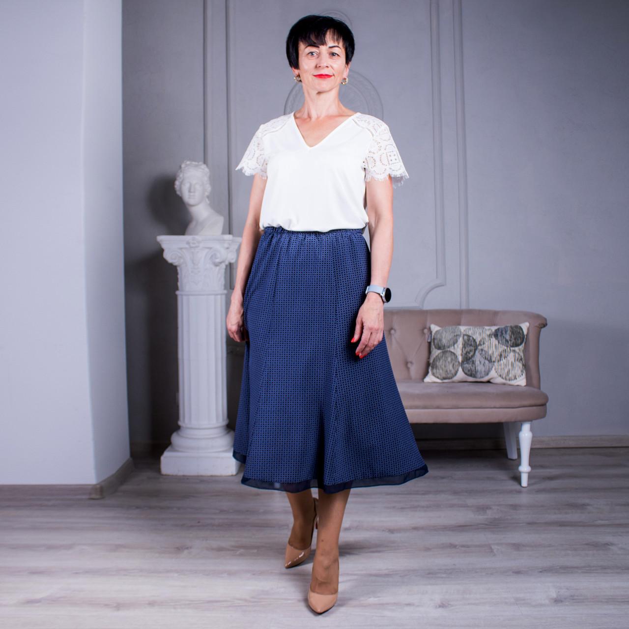 Женская летняя юбка годе №8 синяя с красным