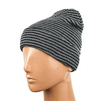 Шапка бини Beaniqe Stripy One Size Серый Черный 21023, КОД: 1333142
