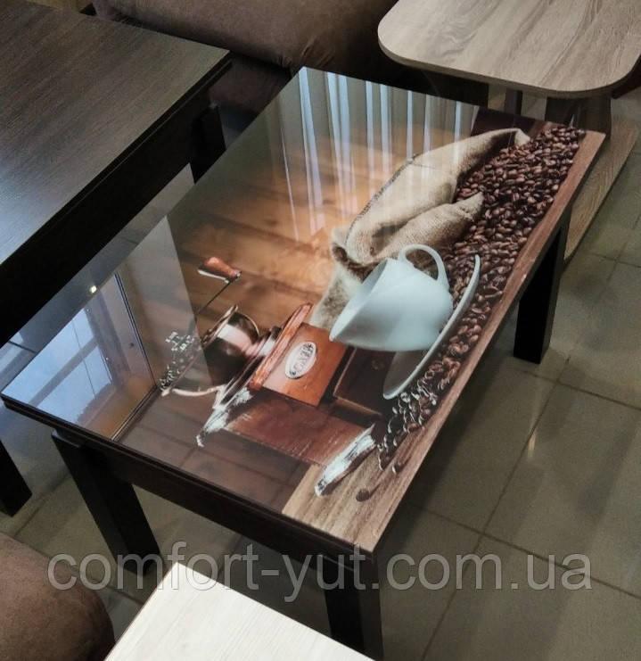 Стол трансформер Флай  венге магия со стеклом  06_156 журнально - обеденный