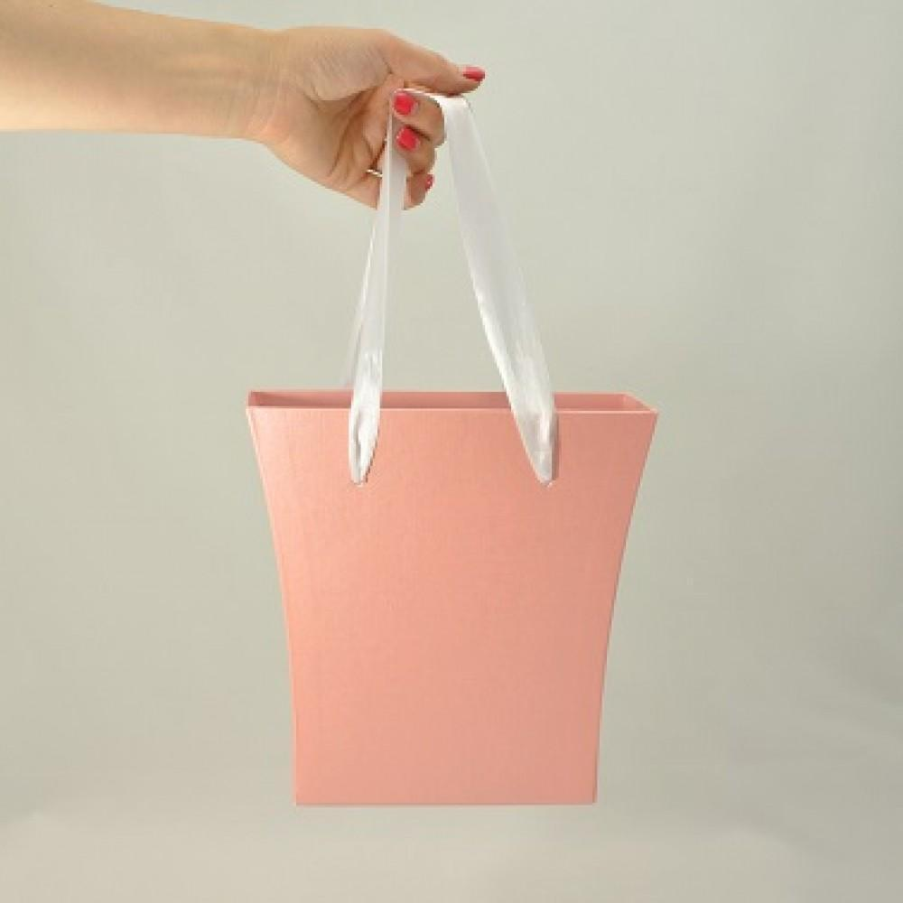 Картонна сумка під квіти з ручками 200/150*75*200 мм Рожевий блиск