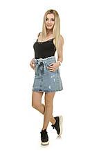 Женская джинсовая юбка LOVEST с пояском L Голубой 042-148-40, КОД: 1478004