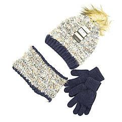 Комплект шапка, снуд, перчатки Suve 7-12 лет Черно-коричневый TUR 51231 brown-blue, КОД: 1469443