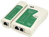 Тестер витой пары MHZ RJ45 LAN RJ11 RJ12 Белый 000398, КОД: 950522