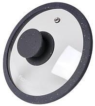 Крышка стеклянная Fissman ARCADES 26 см с силиконовым ободом Темно-серый мрамор psgFN-9919, КОД: 1482320