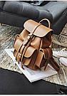 Рюкзак женский с карманами на затяжке рыжий., фото 2