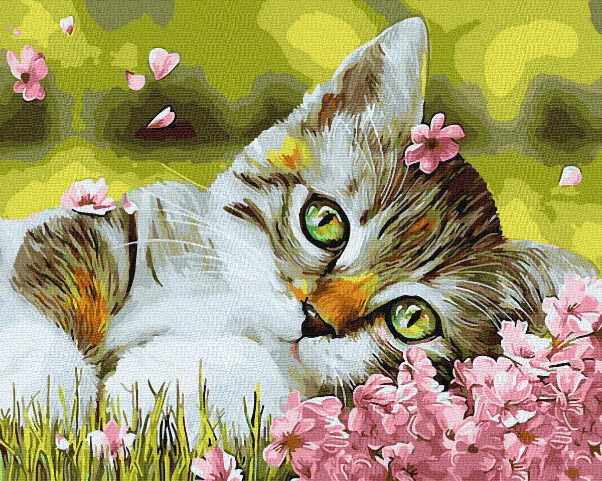Картина по номерам Котенок в цветочках (BK-GX34634) 40 х 50 см