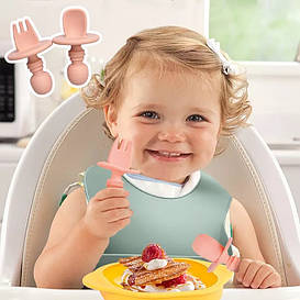 """""""Ложка+Вилка"""" тренировочный набор для кормления  (baby PINK)  силиконовый"""