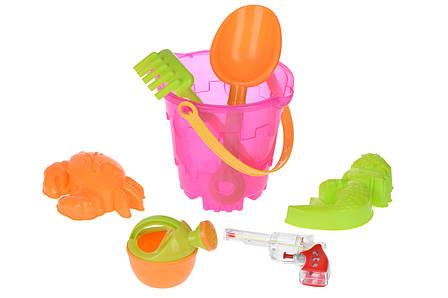 Набір для гри з піском Same Toy 6 шт. Відерце Рожеве (882Ut-2), фото 2