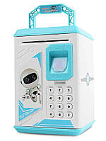 Электронный сейф копилка Robot Bodyguard с отпечатком пальца Голубой 101291, КОД: 1718395