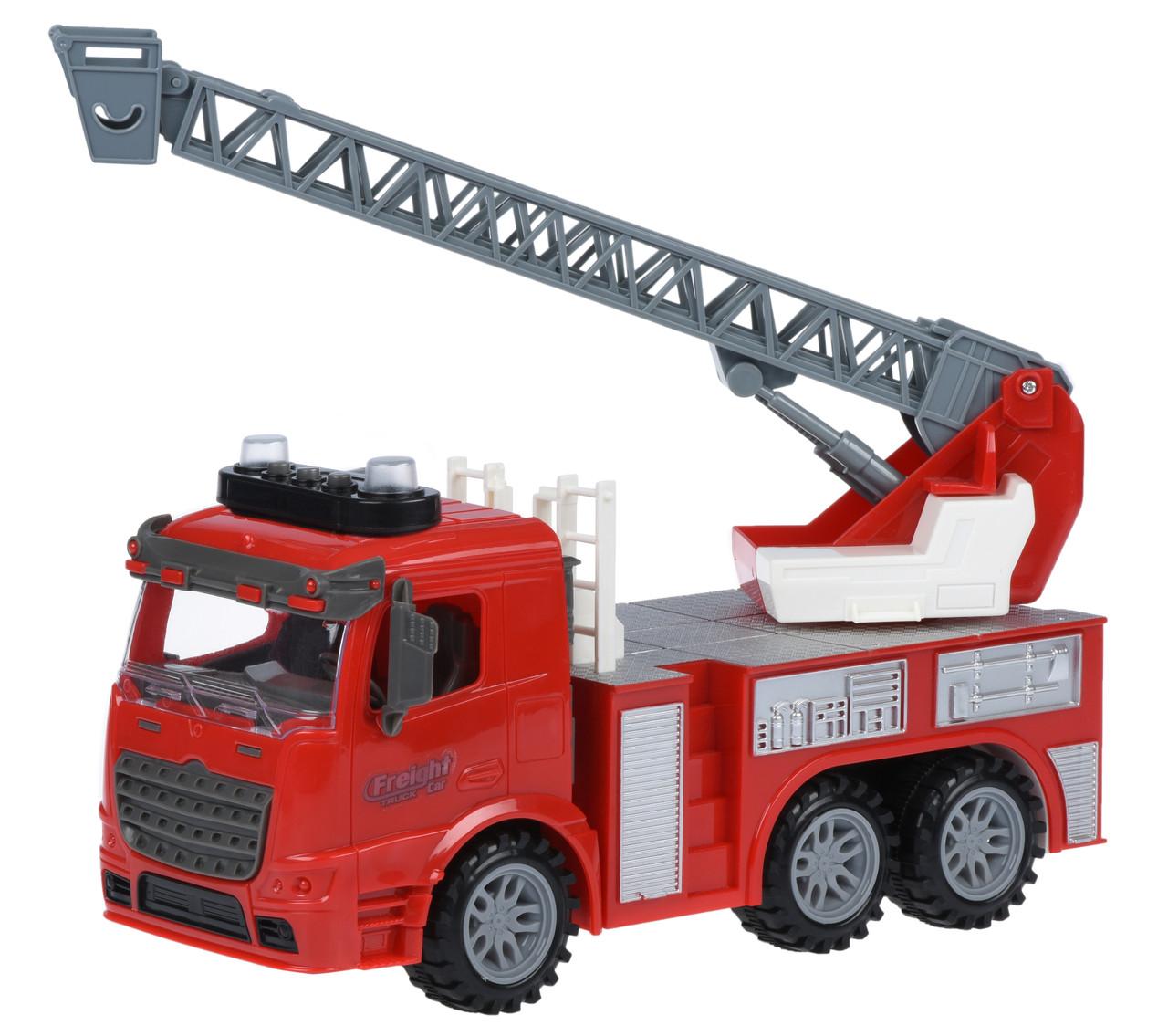 Машинка инерционная Truck Пожарная с выдвижной лестницей со светом и звуком (98-616AUt)