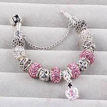 Женский браслет Couqcy Silver Plated Rose Серебристый с розовым AJ216pink, КОД: 1470564