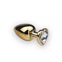 Анальная пробка CRYSTAL из металла Сердце Бриллиант L Gold T281174, КОД: 1731319