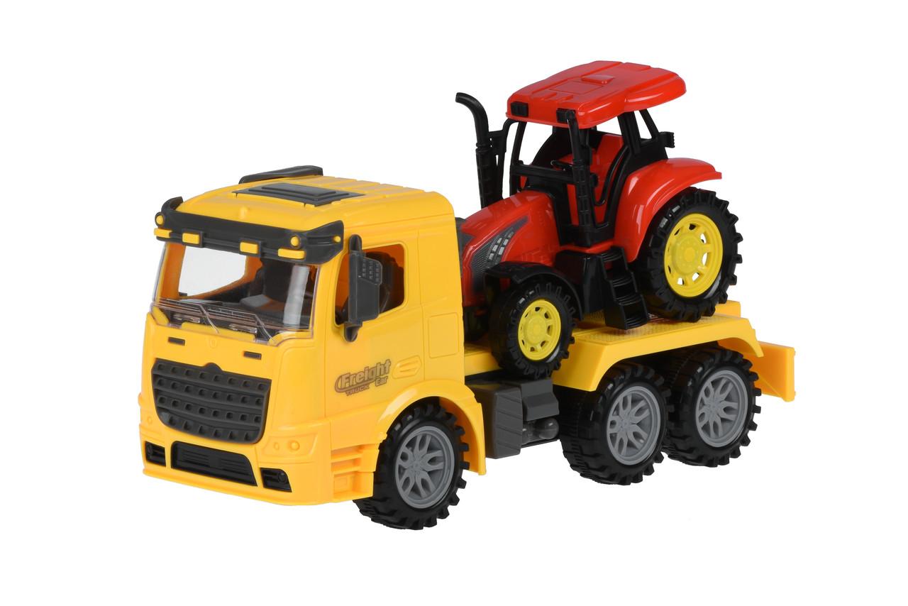 Машинка инерционная Same Toy Truck Тягач с трактором Желтый (98-613Ut-1)