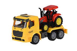 Машинка инерционная Same Toy Truck Тягач с трактором Желтый (98-613Ut-1), фото 2