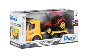 Машинка инерционная Same Toy Truck Тягач с трактором Желтый (98-613Ut-1), фото 3