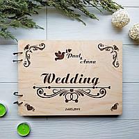 Деревянный свадебный альбом для фотографий и пожеланий 7Arts WE-0021, КОД: 1474317