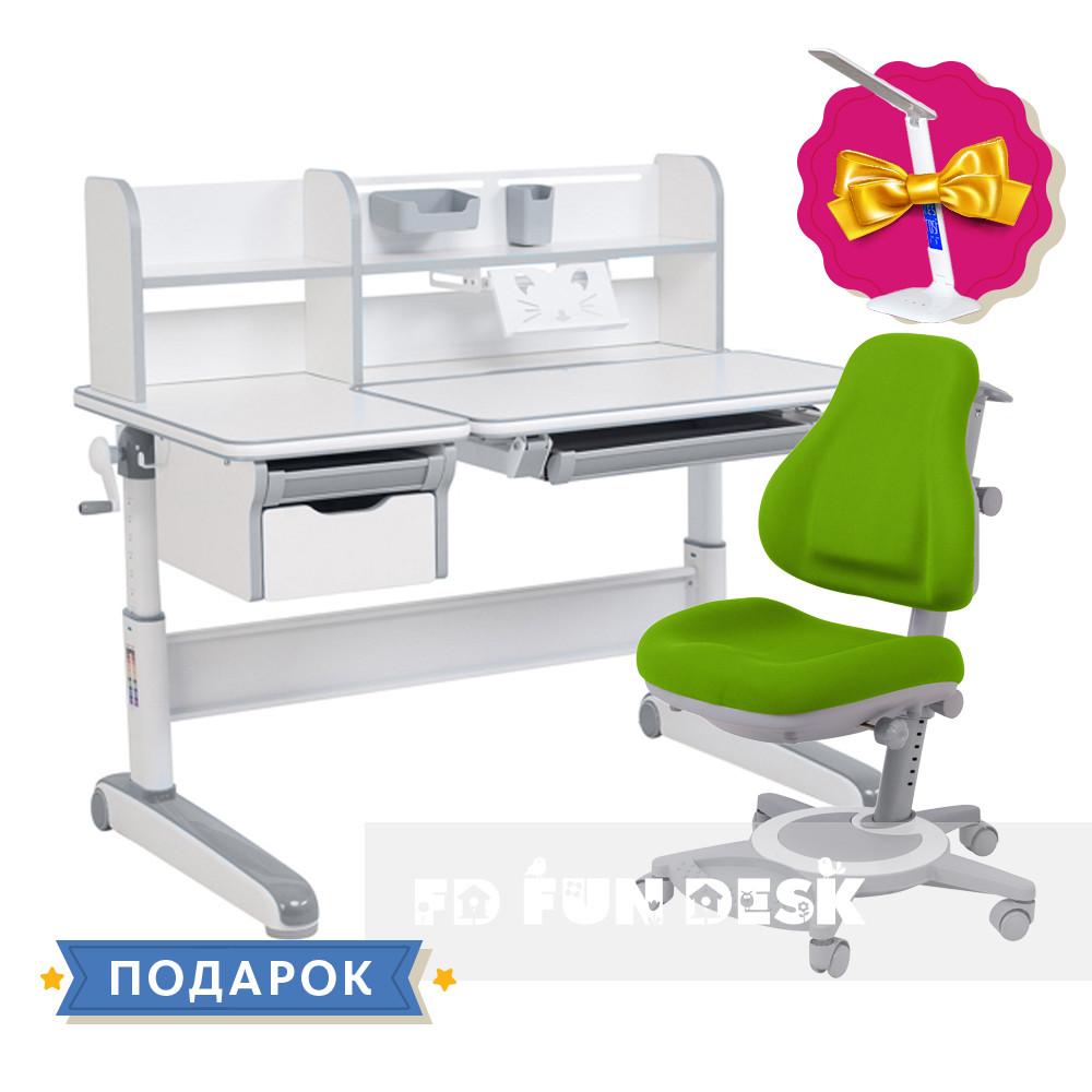 Дитячий комплект стіл-трансформер FunDesk Libro Grey + універсальне крісло FunDesk Bravo Green