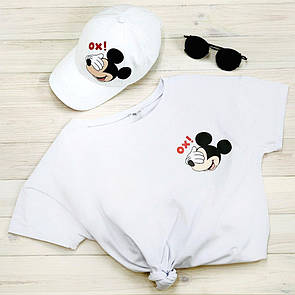"""Комплект Білий Кепка+ футболка """"Міккі"""""""