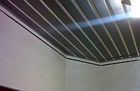 Реечный потолок металлик с белой вставкой, комплект