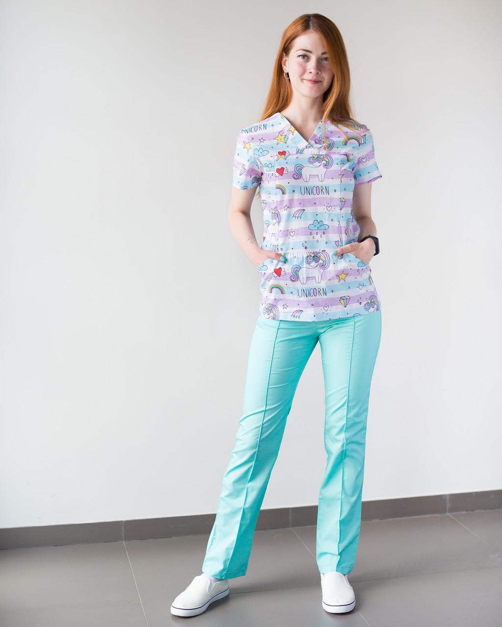 Медицинский женский костюм Топаз принт единороги мятные 40р